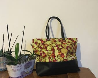 Tot bag in cotton and faux leather fantasy cactus