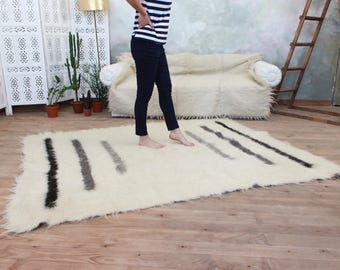 living room rug, white wool carpet, handmade oriental rug, grey stripes, black and white rug, wool area rug, soft rug, white area rug fluffy