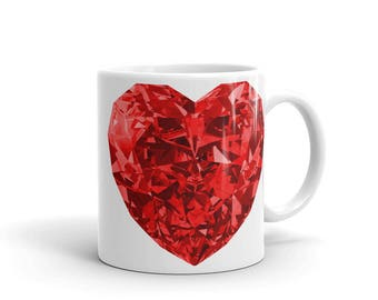 Ruby heart mug - Red Ruby heart, gift for women, gift for her,unique mugs for tea,unique coffee mug,unique mug,custom coffee mug,custom mugs
