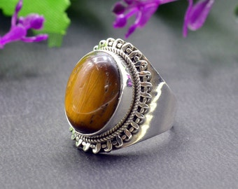 Natural Tiger's Eye Oval Gemstone Ring 925 Sterling Silver R911