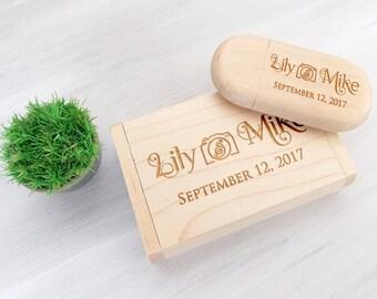 8GB, 16GB USB Wooden Usb Box Wedding Flash Drive Wedding Memory Personalized Wedding Gift Wooden USB Engraved USB Wedding Gifts for Couple