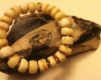 Rare Baltic Amber Royal White Tiger, Egg Yolk AMBER BRACELET 24 Beads, 14.9g=74.5 Ct PLUS 9Kt Gold Beads, Bernstein