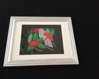 Mola Hand Made in Panama One White Toucon Bird in Glass Frame Original Art Form