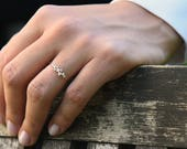 Cluster Ring in 14k Gold / Diamond Cluster Ring / Unique Diamond Stackable Ring /  Diamond Wedding Band / Memorial Day Sale