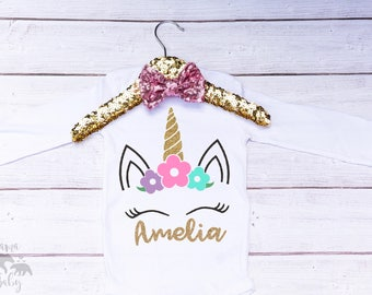 Baby Girl One Unicorn Onesie, Toddler Unicorn Shirt, First Birthday Unicorn Onesie, Unicorn Birthday Outfit, Unicorn 1st Birthday Shirt