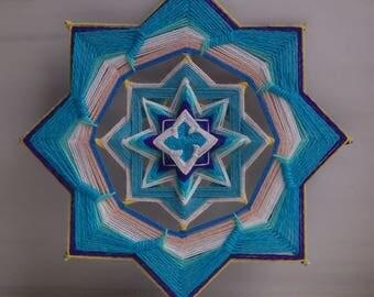 Vishuddha (chakra) - woven mandala, ojo de dios, olho de deus - wall hanging. decor - 25.5 cm (10 inches)