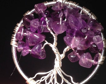 Valentina's Day Аmethyst Tree of Life Pendant Necklace with Artistic Wire&Chain Silver  Plated. Tarnish Resistant Silver. natural Аmethyst