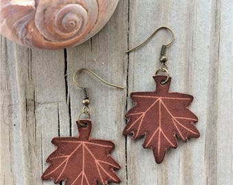 Leather Maple Leaf Earrings