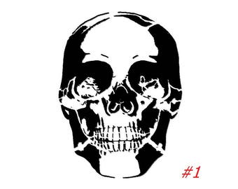 Skull Stencil - 3 Styles To Choose From - Includes Foam Stencil Brush
