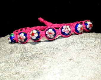 Cloisonne Jewelry - Cloisonne Bracelet - Pink and Blue Cloisonne Bracelet - Cloisonne Bead Bracelet - Cloisonne - Cloisonne Bead - Pink Hemp