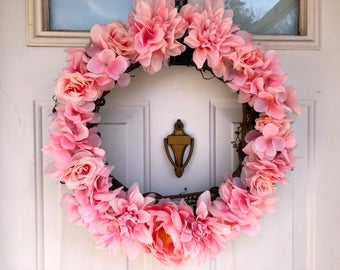 Light Pink Floral Spring Wreath