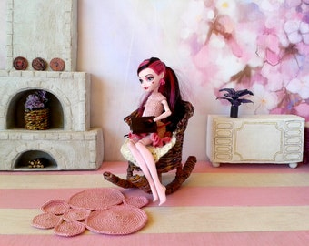 Rocking chair for doll, miniature rocker, mid century wicker armchair for 12 inch dollhouse. Mini brown 1:6 th scale hanging. In stock ready