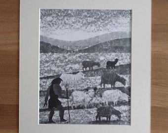 Original 1960's print illustration of prehistoric caveman shepherd with sheep including mount