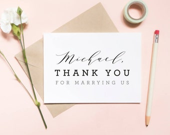 thanks for marrying us card, custom name card, thank you for being our officiant card, wedding card, thank you card / SKU: LNTHANKS11