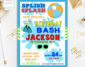 Schwimmbad Partei Geburtstag Einladung, Beach Party Einladung, Sommerfest  Geburtstagseinladung, Splish Splash