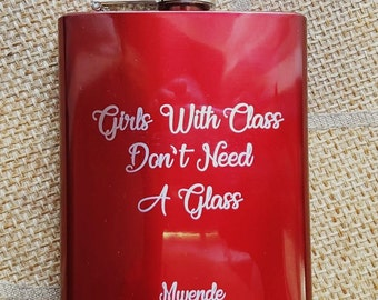 Girls With Class 2 // Gift for Her // Funny Flask // Hip Flask for Women // 21st Birthday Gift for her // 7 oz
