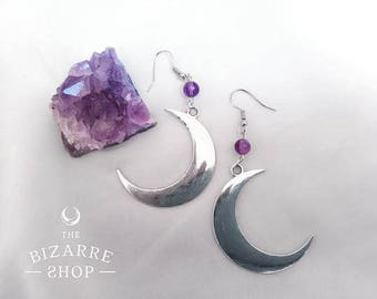 Earrings pendant crescent moon silver / Amethyst / Boho / Wicca / Gothic / Witch / Magic / Esoteric / Occult / goddess