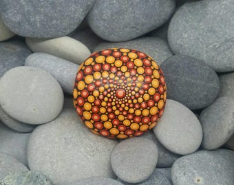Hand-Painted Mandala Stone - Boho - Painted Rock - Red & Orange Mandala Meditation Rock - Painted Stone - Chakra