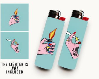BEST BUDS • 2 Waterproof Vinyl Lighter Stickers For BIC Lighter • Blue Lit Buds For Best Friends Getting High Together