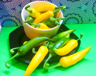 16 Chile Peppers. Decorative Purpose Only. Yellow Green Vegetable Table Display