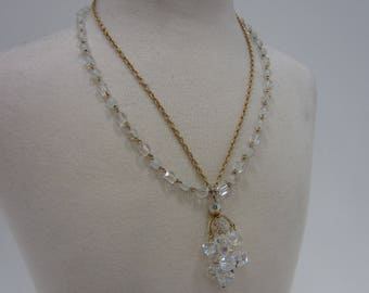 Gorgeous Scintillating Aurora Borealis Chandelier Necklace With Gold-Tone Chain