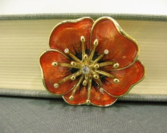 Lovely Vintage Monet Enameled Flower Brooch w/ Rhinestone Accent