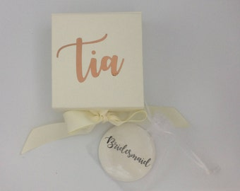 Bridesmaid gift box, bridesmaid pocket mirror, bridesmaids gift, bridesmaids keepsake