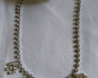 Stunning Vintage Claw Set Clear Diamante/Crystal Choker Necklace.