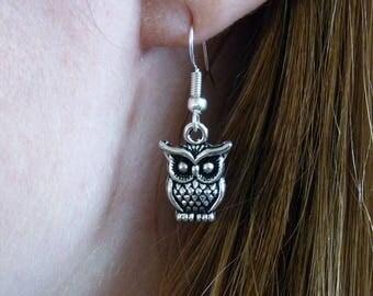 Handmade Silver Owl Dangle Drop Hook Earrings