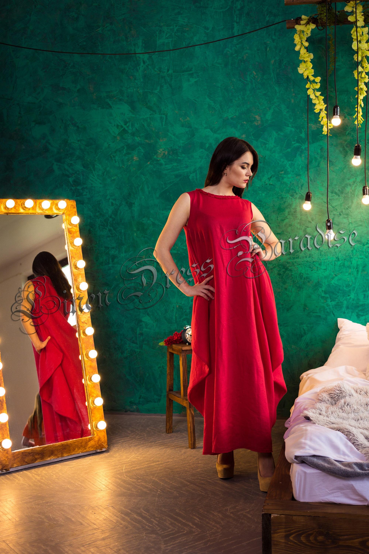 Robe rouge en lin wow
