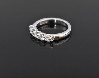 14K White Gold 5 Stone Diamond Anniversary Ring