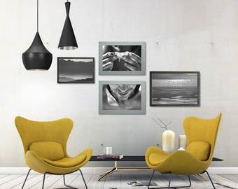 Black And White Portrait Photo, Black And White Gallery Wall Prints, Black And White Nature Wall Art Set, Man Portrait Poster Set, Sea Print