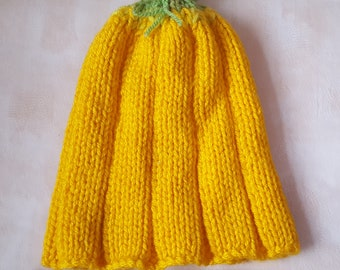 Pumpkin style Beanie hat, Hand knitted, Yellow Italian Acrylic yarn, Green top decoration, Designed, Gift, Fun hat, Unique hat, Warm, cute.