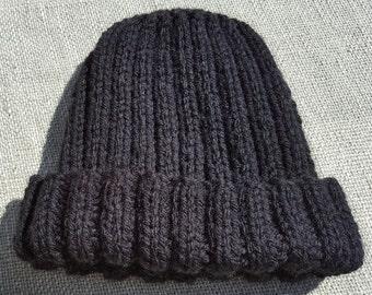 Adult's Black Beanie hat, Hand knitted, Rib pattern, Black Aran yarn, Handmade, No seam, Beanie hat, Gift, Treat, Birthday, Camping, Walks.