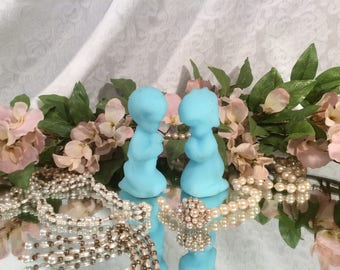 Fenton, Blue Satin, Milk Glass Praying Girl and Boy Figurines