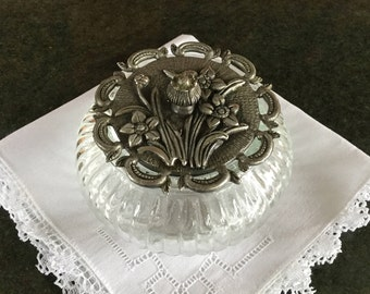 Glass and pewter trinket box Flower motif Vintage jewellery box Vintage storage