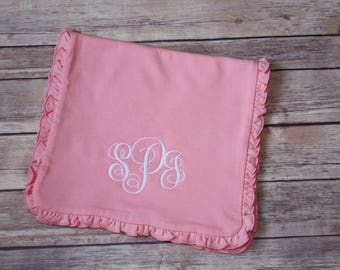 Monogrammed Cotton Pink Ruffle Baby Burp Cloth, Baby Girl Burp Rag, Personalized Baby Shower Gift, Custom Baby Gift, Baby Girl Gift