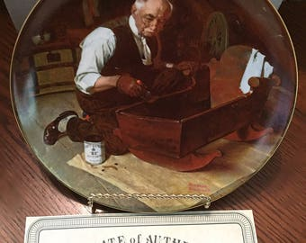 """Vintage: """"Grandpa's Gift"""" Collector Plate, Edwin M. Knowles Fine China, 1987, Rockwell's Golden Moments Collection by Norman Rockwell"""
