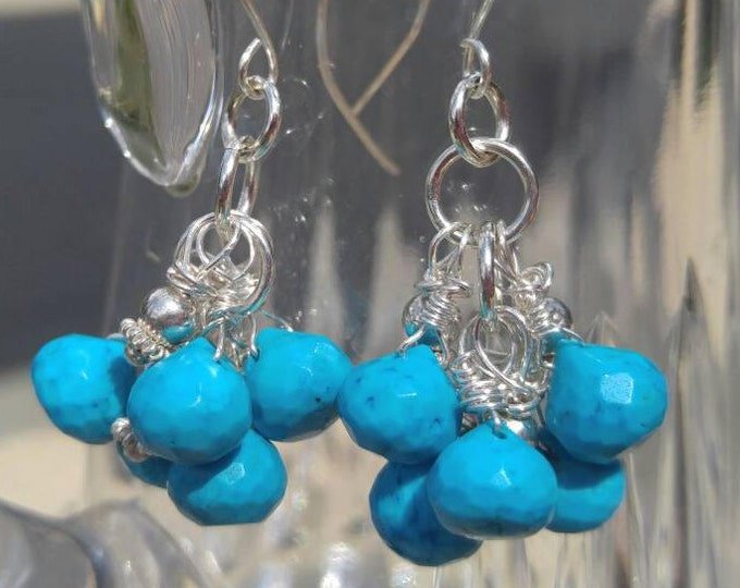 Turquoise earrings, silver and turquoise drop earrings, blue earrings,  turquoise dangle earrings, Sterling silver beads. Handmade earring