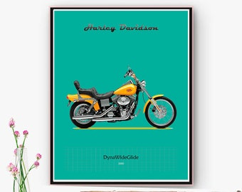 Harley-Davidson Dyna WideGlide motorcycle poster, art wall downloadable Home Office decoration, garage. Christmas, Online poster.