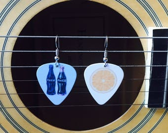Coke & Lemon Guitar Pick Earrings - Makes a Great Gift for a Guitarist or Musician!