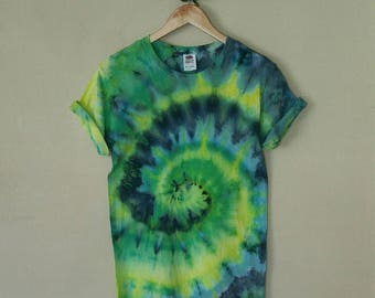 Tie Dye Shirt/ Tie Dye Tee/ Spiral/ Green and Blue/  Hippy Top/ Boho Tee/ Hipster Shirt/ Fesival Wear/ Small Adult