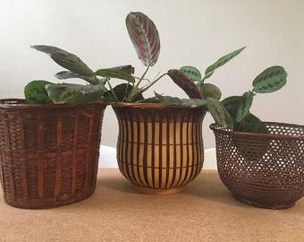 3 Boho Two-Tone Vintage Basket Woven Rattan Bamboo Planter Set