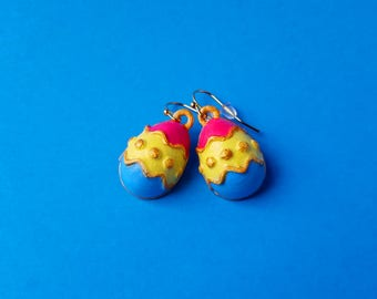 Easter Egg Earrings with Gold Plated Hooks, 3D Printed Hand Painted with Acrylic Paints