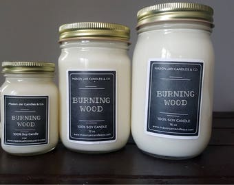 Firewood Candle, Firewood Scent, Firewood, Mason Jar Candle, Mason Jar Soy Candle, Winter Candle, Fall Candle, Family Candle, Homemade