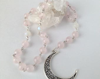 Rose Quartz & Moonstone Pagan Rosary // Prayer Beads // Pagan // Wiccan // Lunar Goddess // Moon Goddess
