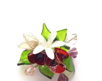 White red flowers brooch, Swarovski crystal, flowers brooch, spring brooch, hand made flowers, jewellery, accessories, lapel, wedding