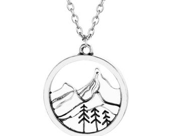 Tree-stamped / Nature / Mountains Necklace