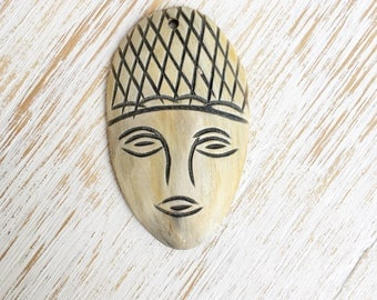 Carved Wood Face Pendant 50mm x 30mm / 1pc, Tribal Face Pendant, Necklace Findings, Face Mask Bead, Head Pendants, African Pendant  (B0008)