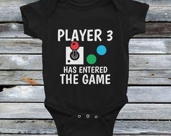 Player 3 Has Entered The Game Onesie Retro - New Born Baby Bodysuits - Player 3 Onesie